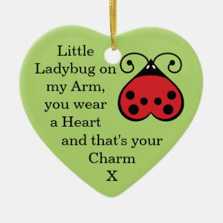 Little Ladybug Charming Heart Shape Ornament Green