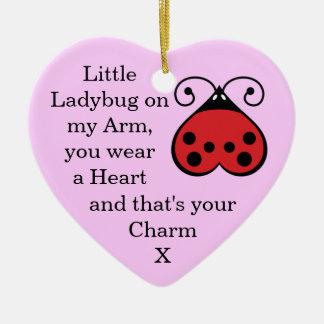 Little Ladybug Charming Heart Shape Ornament Pink
