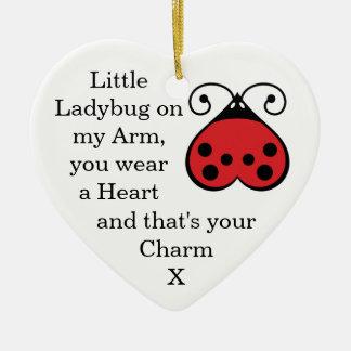 Little Ladybug Charming Heart Shaped Ornament