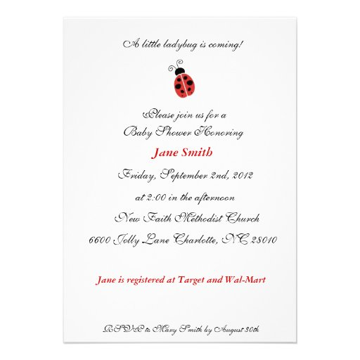 Little Ladybug Elegant Baby Shower Invite