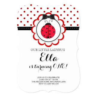 Little Ladybug First Birthday Party Invitation