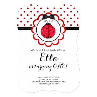 Little Ladybug First Birthday Party Invitation