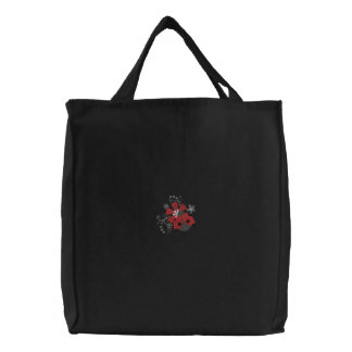 Little Ladybug & Flowers Embroidered Tote Bag