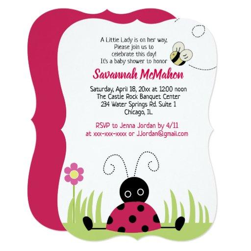 Little Ladybug Girl Baby Shower Invitation