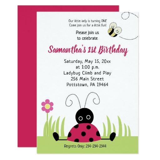 Little Ladybug Girl Birthday Invitation