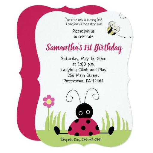 Little Ladybug Girl Birthday Invitation Die Cut