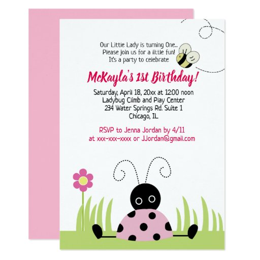 Little Ladybug Girls Birthday Invitation