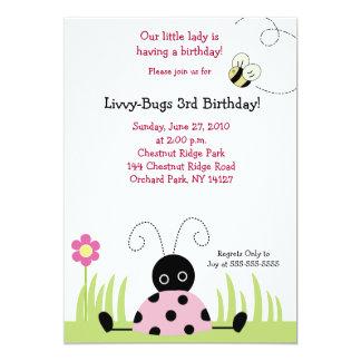 Little Ladybug (Pink) 5x7 Birthday Invitation