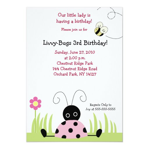 Little Ladybug (Pink) 5x7 Birthday Invitation