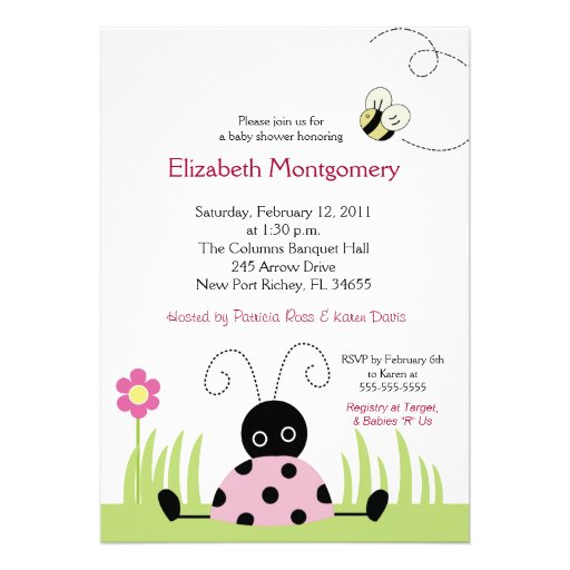 Little Ladybug (Pink) Baby Shower 5x7 Personalized Announcement