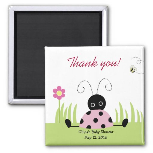 Little Ladybug (Pink) Baby Shower Favor Magnet