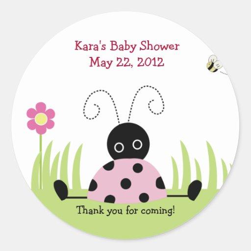 little ladybug pink baby shower favor sticker zazzle