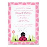 "Little Ladybug Pink Dot Baby Shower Invitation 4.5"" X 6.25"" Invitation Card"