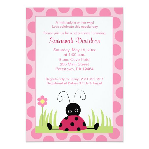 Little Ladybug Pink Dot Baby Shower Invitation
