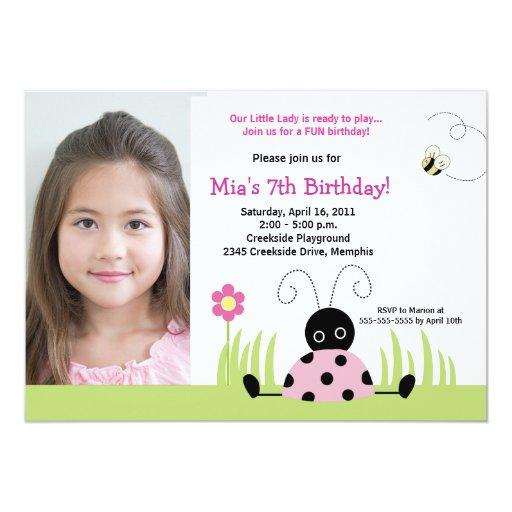 Little Ladybug Pink *PHOTO* Birthday 5x7 Card