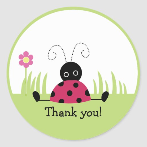 Little Ladybug Thank you Favor Stickers