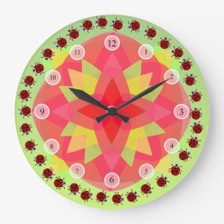 Little Ladybugs Wall Clock - vivid lady bug wall art