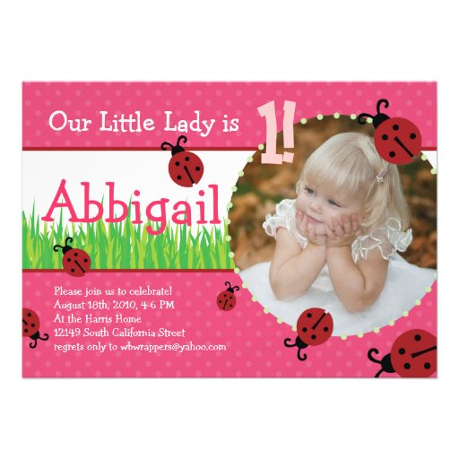 Little Lady's Birthday - Ladybugs Announcements