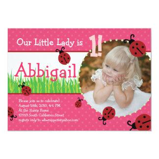 "Little Lady's Birthday - Ladybugs 5"" X 7"" Invitation Card"