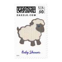 Little Lamb Applique Baby Shower Invite Postage