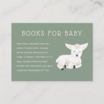 Little Lamb Baby Shower Book Request Enclosure Card