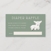 Little Lamb Baby Shower Diaper Raffle Ticket Enclosure Card