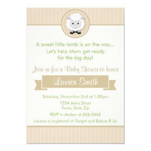 Little Lamb Baby Shower Invitation 5x7 Card