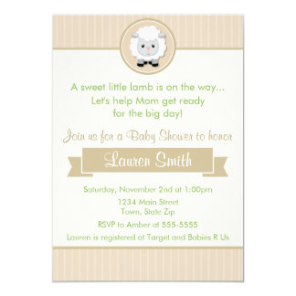 Attractive Little Lamb Baby Shower Invitation 5x7 Card