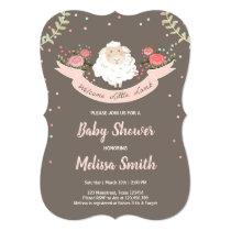 Little lamb Baby Shower Invitation Pink Spring