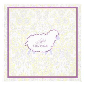 Little Lamb Baby Shower Invitation | Purple
