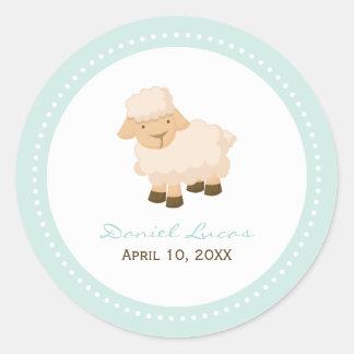 Little Lamb Baptism Classic Round Sticker