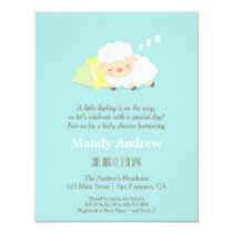 Little Lamb Blue Baby Shower Party Invitations