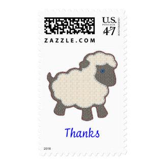 Little Lamb Blue Thanks Postage Stamp