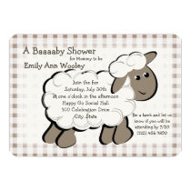 Little Lamb Gingham Baby Shower Card