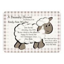 Little Lamb Gingham Baby Shower Invitation
