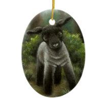 Little lamb in the woods ceramic ornament