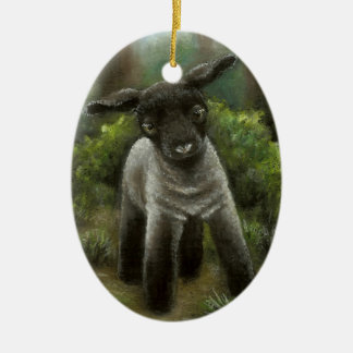 Little lamb in the woods christmas tree ornament