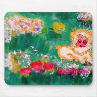 Little Lamb Playing in the Flowers Designer Mouse Pad