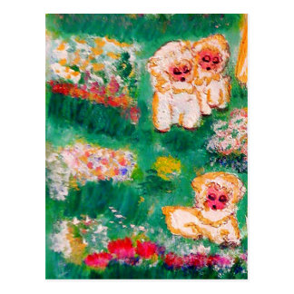 Little Lamb Playing in the Flowers Designer Postcard