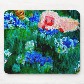 Little Lamb Sleeping in the Flowers Art Gift Mouse Pad