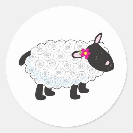 Little Lamb Round Stickers