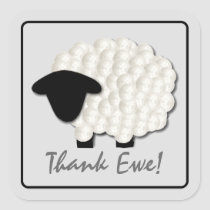 Little Lamb Thank You Stickers (Square)