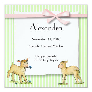 Little Lambs Birth Announcement Girl