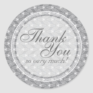 Little Leaf Thank You Stickers - Grey