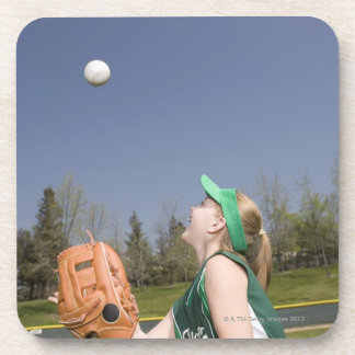 Little league player catching ball beverage coaster
