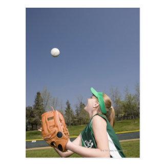 Little league player catching ball postcard