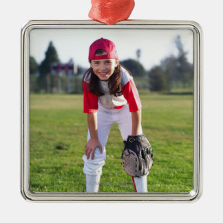 Little league player metal ornament
