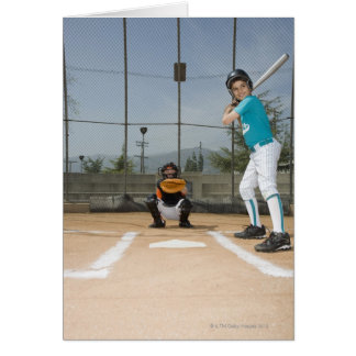 Little league player up to bat greeting card