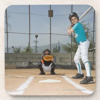 Little league player up to bat coaster