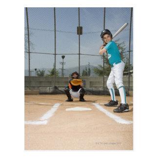 Little league player up to bat postcard